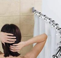 Curved shower rod