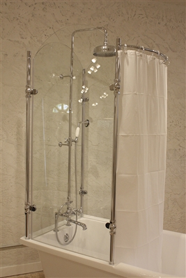 Glass shower tub with shower curtain