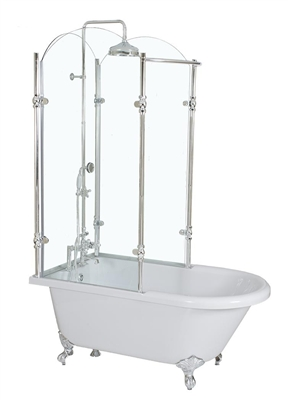 Complete glass shower claw tub